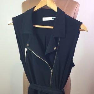 Calvin Klein Black Silky Moto Style Jumpsuit 12